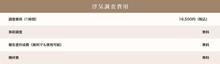 総合探偵社TSの浮気調査料金表